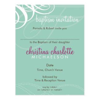 BAPTISM INVITE :: designer vogue 2 Postcard