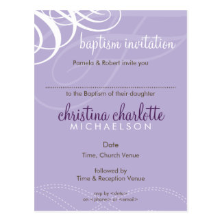 BAPTISM INVITE :: designer vogue 3 Postcard