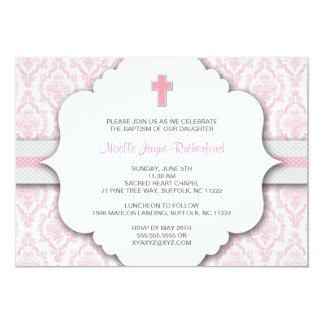 """Baptism Invite for GIRL Pink and Gray Damask 5"""" X 7"""" Invitation Card"""