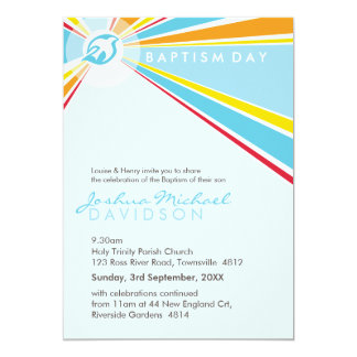 "BAPTISM INVITES :: modern dove 5P 5"" X 7"" Invitation Card"