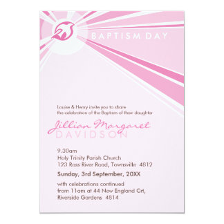 "BAPTISM INVITES :: modern dove 8P 5"" X 7"" Invitation Card"