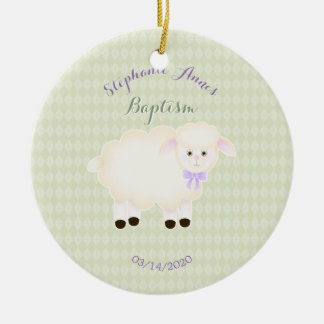 Baptism Lamb Ceramic Ornament