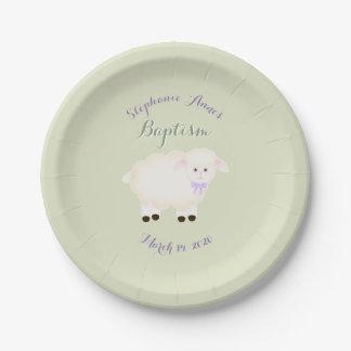 Baptism Lamb Paper Plate