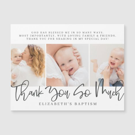 Baptism Modern Simple Chic Photo Thank You Card