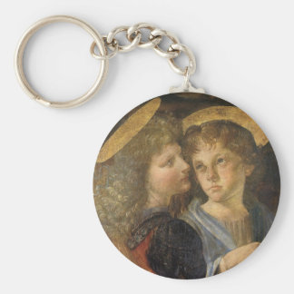 Baptism of Christ Angels by Leonardo da Vinci Basic Round Button Keychain