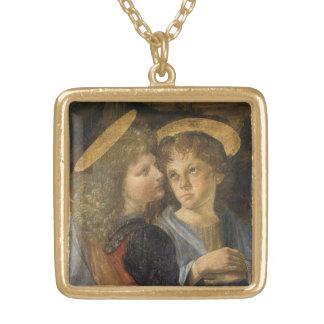 Baptism of Christ Angels by Leonardo da Vinci Gold Plated Necklace