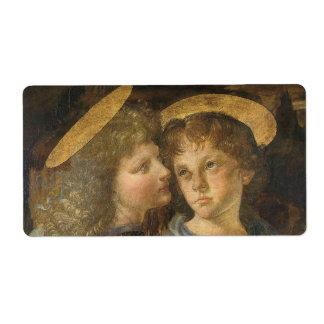 Baptism of Christ Angels by Leonardo da Vinci Label