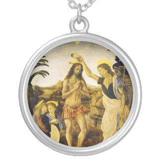 Baptism of Christ by Da Vinci and Verrocchio Round Pendant Necklace