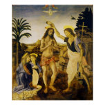 Baptism of Christ by Da Vinci and Verrocchio Posters