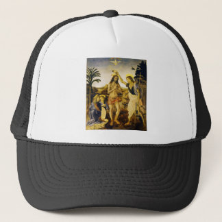 Baptism of Christ by Da Vinci and Verrocchio Trucker Hat