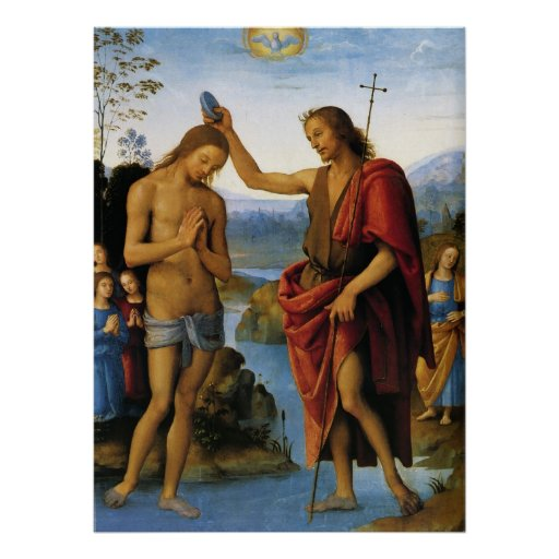 Baptism of Christ by Pietro Perugino Posters