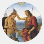Baptism of Christ by Pietro Perugino Sticker
