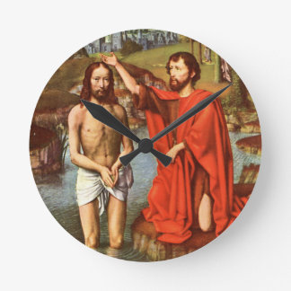 Baptism of Jesus painted by Masters Round Clock