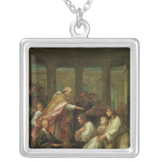 Baptism of St. Augustine Silver Plated Necklace
