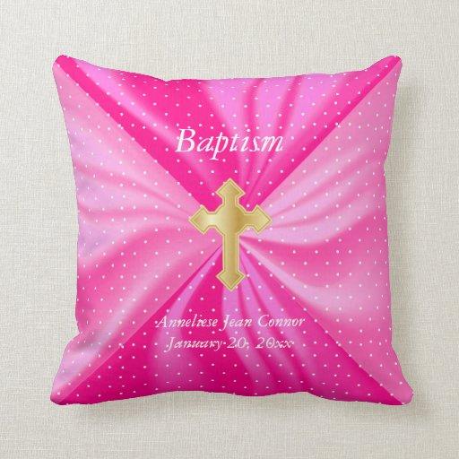 Baptism on Pink Polka Dot Satin Throw Pillow Zazzle