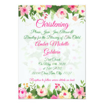 Baptism or Christening Pink Floral  Announcement