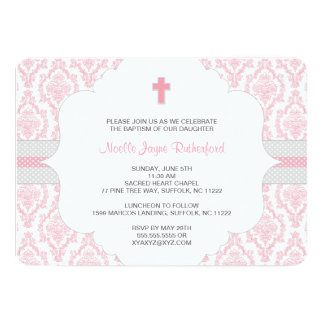 Baptism or First Communion Invite for girls / pink