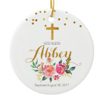 Baptism Ornament God Bless Baby Girl Ornament