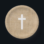 "Baptism Paper Plates White Cross Rustic Burlap<br><div class=""desc"">Baptism Paper Plates White Cross Rustic Burlap. Burlap paper plates are available in a few sizes.</div>"