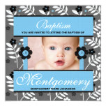 "Baptism Photo Invitation for Baby Boy Monogrammed 5.25"" Square Invitation Card"
