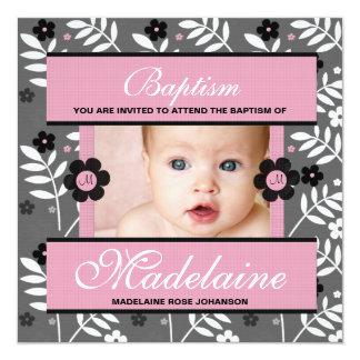 Baptism Photo Invitation for Baby Girl Monogrammed