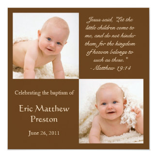 "Baptism Photo Invite with Bible Verse 5.25"" Square Invitation Card"