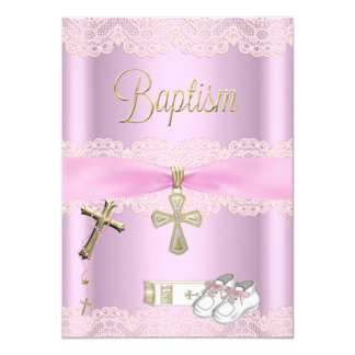 Baptism Pink Cross Girl Lace Christening Card