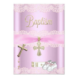 Baptism Pink Cross Girl Lace Christening Personalized Announcement