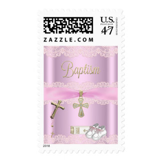 Baptism Pink Cross Girl Lace Christening Postage