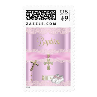 Baptism Pink Cross Girl Lace Christening Stamp