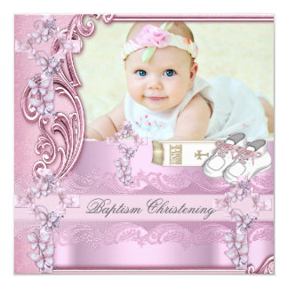 "Baptism Pink Cross Girl Photo christening 5.25"" Square Invitation Card"