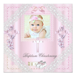 Baptism Pink Cross Girl Photo christening Lace 2 Personalized Announcements