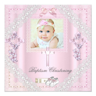 "Baptism Pink Cross Girl Photo christening Lace 2 5.25"" Square Invitation Card"