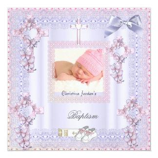 Baptism Pink Cross Girl Photo Lavender Lace 2 Custom Invitation