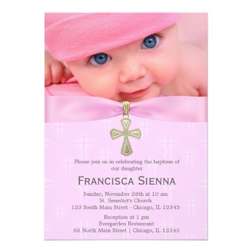 Invitation Baptism Girl with adorable invitation layout