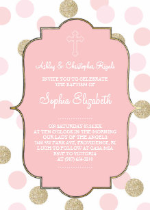 pink and gold polka dot invitations zazzle