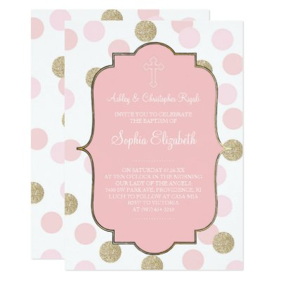 first communion pink polka dot with bow invitation zazzle com