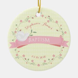 Baptism Pink Floral Wreath Ceramic Ornament