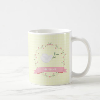 Baptism Pink Floral Wreath Coffee Mug