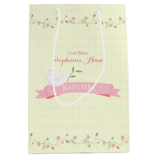 Baptism Pink Floral Wreath Medium Gift Bag