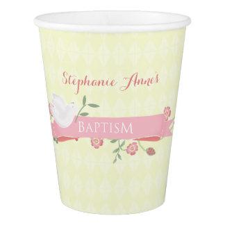 Baptism Pink Floral Wreath Paper Cup
