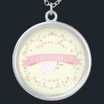 """Baptism Pink Floral Wreath Silver Plated Necklace<br><div class=""""desc"""">Baptism Pink Floral Wreath This beautiful and elegant Baptism design consists of a beautiful and delicate pink floral wreath, a pink sash and a peaceful dove holding an olive branch. The background is in a delicate yellow argyle pattern. Cherish the great memories of your child's Baptism or Christening with this...</div>"""