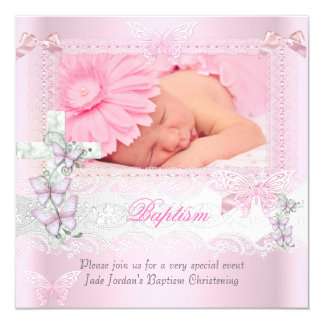 Baptism Pink Lace Photo Butterfly Cross Girl 2 Card