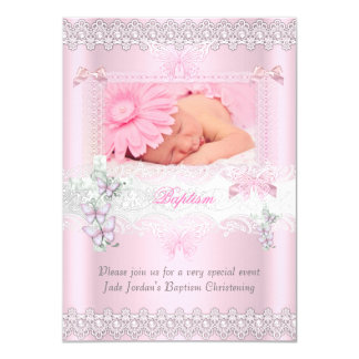 Baptism Pink Lace Photo Butterfly Cross Girl 3 Card