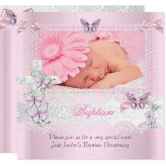 Baptism Pink Lace Photo Butterfly Cross Girl Card