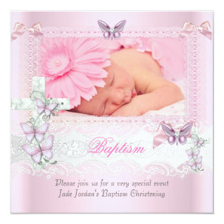 "Baptism Pink Lace Photo Butterfly Cross Girl 5.25"" Square Invitation Card"