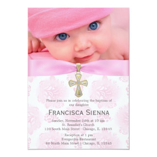 Baptism Pink Roses with photo Card