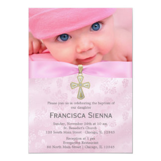 """Baptism Pink Roses with photo 5"""" X 7"""" Invitation Card"""