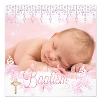 Baptism Pink Silver Butterfly Cross Card