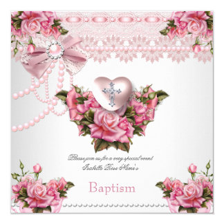 Baptism Pink Silver Heart Cross Girl Rose 5 Card